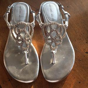 Silver rhinestone sandals
